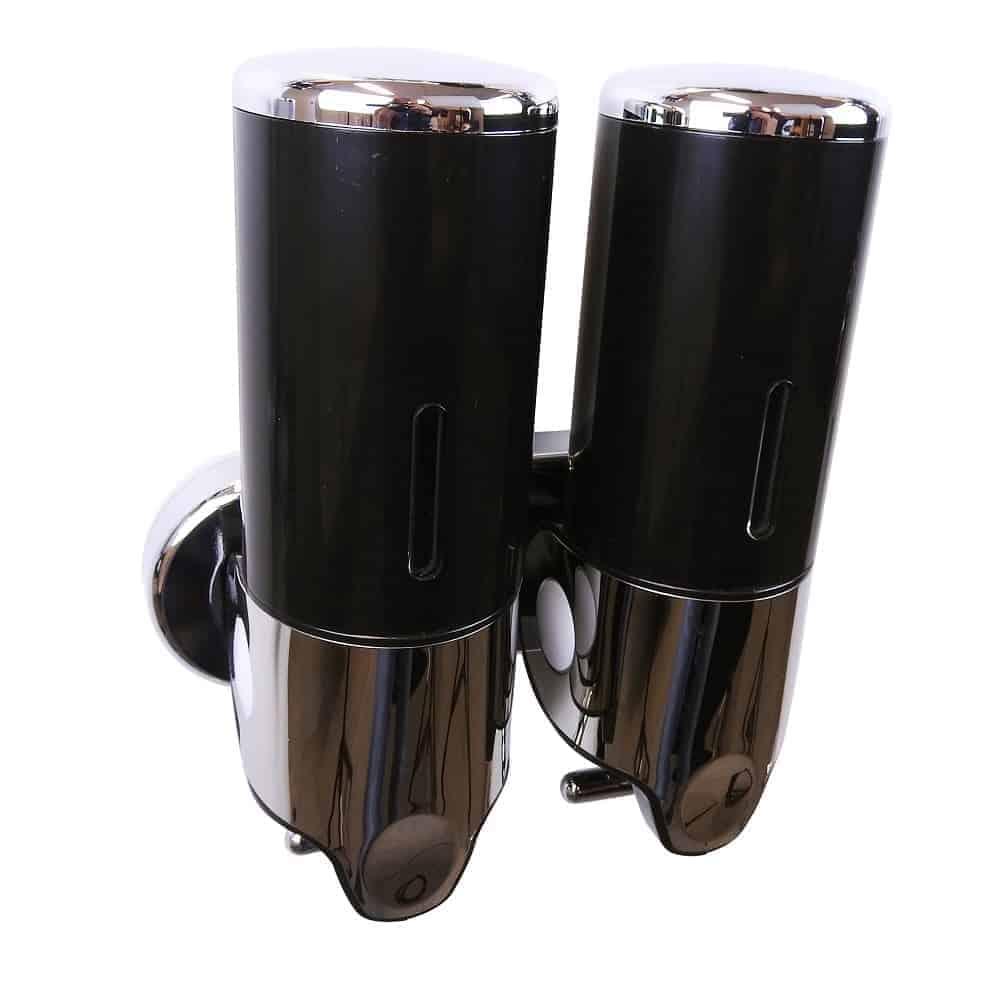 Dubbele zeep dispenser zwart met chroom 2 x 400 ml