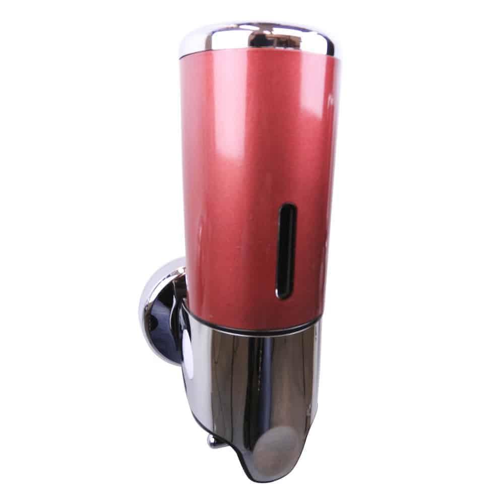 Zeep dispenser rood met chroom 400 ml