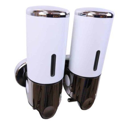Dubbele zeep dispenser wit met chroom 2 x 400 ml