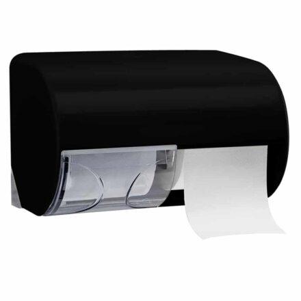 Marplast Duo Toiletrol houder A75513 - zwart - voor 2 rollen traditioneel toiletpapier - afsluitbaar - met schuifje