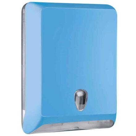Marplast papieren handdoekjes dispenser A83010EAZ - Blauw - capaciteit - 600 vel - voor Z, C en V gevouwen handdoekjes
