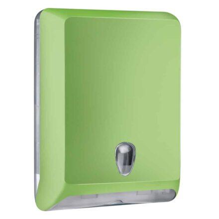 Marplast papieren handdoekjes dispenser A83010EVE - Groen - capaciteit - 600 vel - voor Z, C en V gevouwen handdoekjes