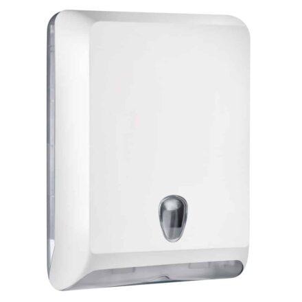 Marplast papieren handdoekjes dispenser A83010EBL - wit - capaciteit - 400 vel - voor Z, C en V gevouwen handdoekjes