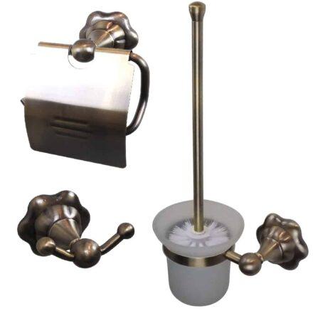 WillieJan Toilet set 9590 - Aniek Look Bronskleurig Messing - Set; Toiletrolhouder, Toiletborstel en Handdoek haak