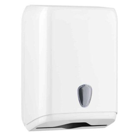 Marplast papieren handdoekjes dispenser A59211 - wit - capaciteit - 600 vel - voor C, Z en interfolded gevouwen handdoekjes
